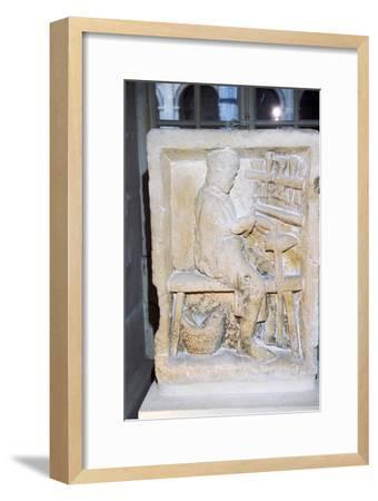 Roman relief of a shoe-maker or repairer from Rheims, France, c1st-2nd century-Unknown-Framed Giclee Print