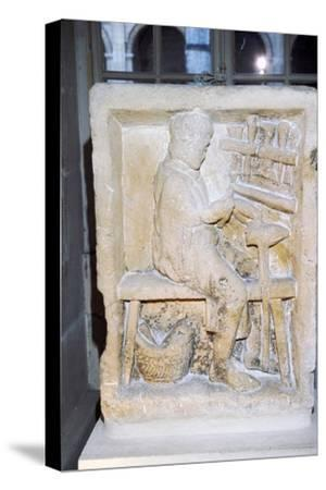 Roman relief of a shoe-maker or repairer from Rheims, France, c1st-2nd century-Unknown-Stretched Canvas Print