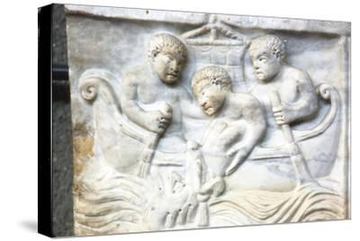 Jonah and the Whale, early Christian Sarcophagus, Roman Marble, 4th century-Unknown-Stretched Canvas Print