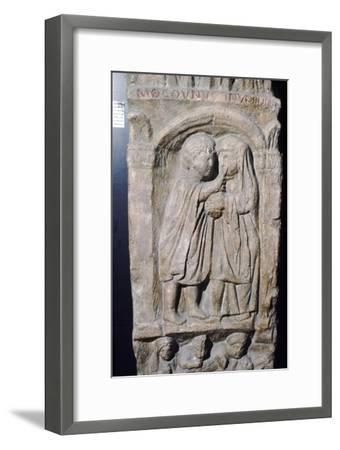 Roman doctor inspecting eye of a woman, relief on gravestone, from house near Naix, France-Unknown-Framed Giclee Print