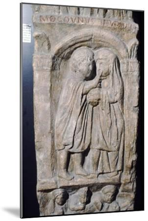 Roman doctor inspecting eye of a woman, relief on gravestone, from house near Naix, France-Unknown-Mounted Giclee Print