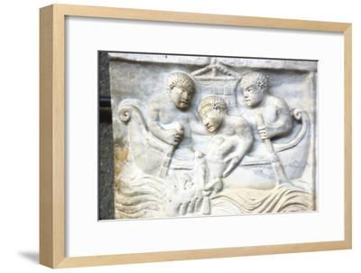 Jonah and the Whale, early Christian Sarcophagus, Roman Marble, 4th century-Unknown-Framed Giclee Print