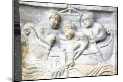 Jonah and the Whale, early Christian Sarcophagus, Roman Marble, 4th century-Unknown-Mounted Giclee Print