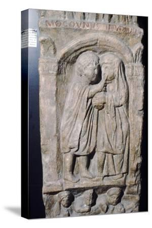 Roman doctor inspecting eye of a woman, relief on gravestone, from house near Naix, France-Unknown-Stretched Canvas Print
