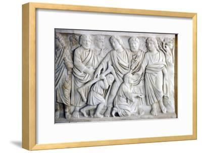 Early Christian Sarcophagus of Christ healing the sick, 4th century-Unknown-Framed Giclee Print