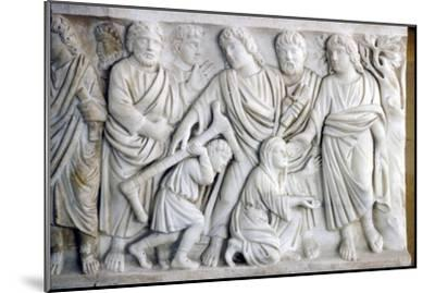 Early Christian Sarcophagus of Christ healing the sick, 4th century-Unknown-Mounted Giclee Print