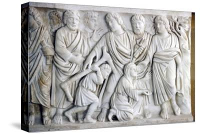 Early Christian Sarcophagus of Christ healing the sick, 4th century-Unknown-Stretched Canvas Print