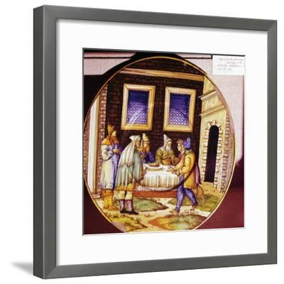 The Institution of Passover, Italian Earthenware plate from Urbino, c1540-1545-Unknown-Framed Giclee Print