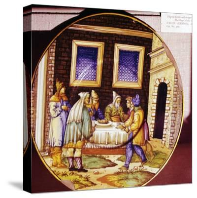 The Institution of Passover, Italian Earthenware plate from Urbino, c1540-1545-Unknown-Stretched Canvas Print