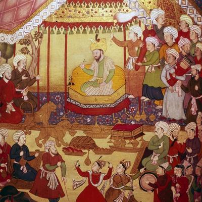 Timur enthroned during celebrations, Mughal manuscript, 1600-1601-Unknown-Framed Giclee Print