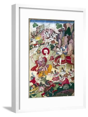 Siva destroys the demon Andhaka, Harivamsa manuscript, Mughul, c1590-Unknown-Framed Giclee Print
