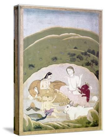 Siva and Parvati with their children, Ganesh and Karttikgya on Mount Kailash, c1745-Unknown-Stretched Canvas Print