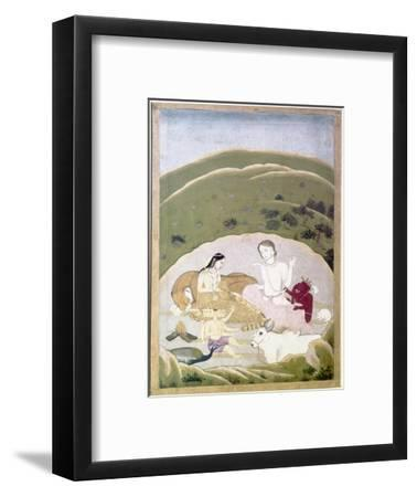Siva and Parvati with their children, Ganesh and Karttikgya on Mount Kailash, c1745-Unknown-Framed Giclee Print