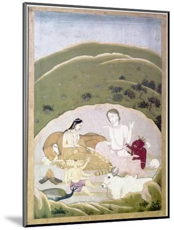 Siva and Parvati with their children, Ganesh and Karttikgya on Mount Kailash, c1745-Unknown-Mounted Giclee Print