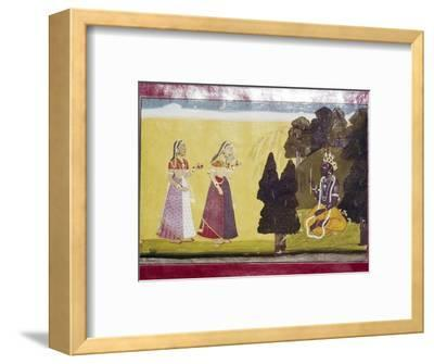 Krishna with flute, approached by two ladies-Unknown-Framed Giclee Print