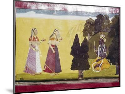 Krishna with flute, approached by two ladies-Unknown-Mounted Giclee Print