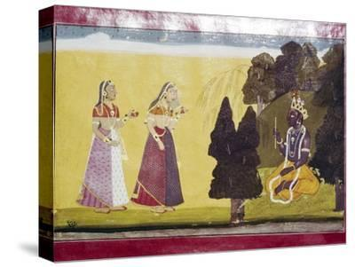 Krishna with flute, approached by two ladies-Unknown-Stretched Canvas Print
