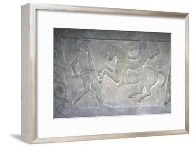 Etruscan Stela Detail, Combat between horseman and foot-soldier, c4th century BC-Unknown-Framed Giclee Print