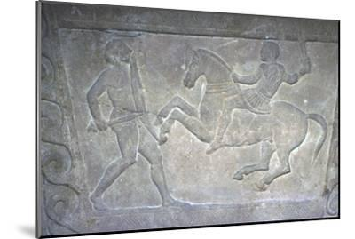 Etruscan Stela Detail, Combat between horseman and foot-soldier, c4th century BC-Unknown-Mounted Giclee Print