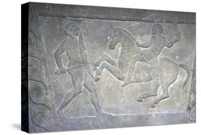 Etruscan Stela Detail, Combat between horseman and foot-soldier, c4th century BC-Unknown-Stretched Canvas Print