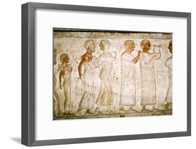Etruscan Sarcophagus detail, Procession with Musicians, c5th century BC-4th century BC-Unknown-Framed Giclee Print