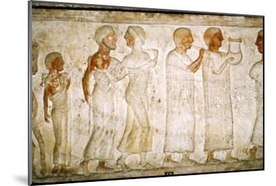 Etruscan Sarcophagus detail, Procession with Musicians, c5th century BC-4th century BC-Unknown-Mounted Giclee Print