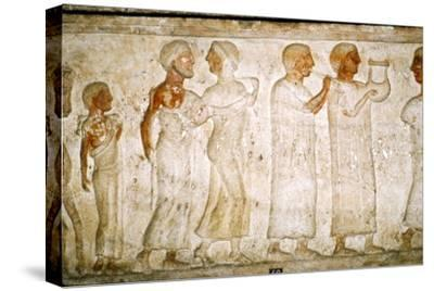 Etruscan Sarcophagus detail, Procession with Musicians, c5th century BC-4th century BC-Unknown-Stretched Canvas Print