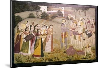 Krishna Celebrating Spring Festival of Holi, c1770-1780-Unknown-Mounted Giclee Print
