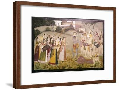 Krishna Celebrating Spring Festival of Holi, c1770-1780-Unknown-Framed Giclee Print