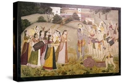 Krishna Celebrating Spring Festival of Holi, c1770-1780-Unknown-Stretched Canvas Print