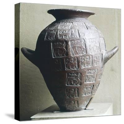 Etruscan Jar stamped with Centaurs and winged lions, 6th century BC-Unknown-Stretched Canvas Print