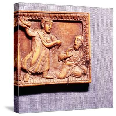 The Stoning of St Paul, Ivory Panel from Casket, Rome, late 4th century-Unknown-Stretched Canvas Print