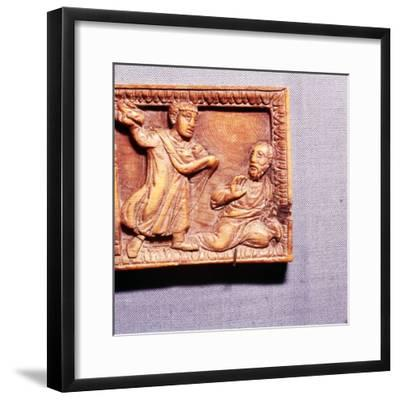 The Stoning of St Paul, Ivory Panel from Casket, Rome, late 4th century-Unknown-Framed Giclee Print