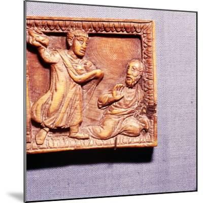 The Stoning of St Paul, Ivory Panel from Casket, Rome, late 4th century-Unknown-Mounted Giclee Print