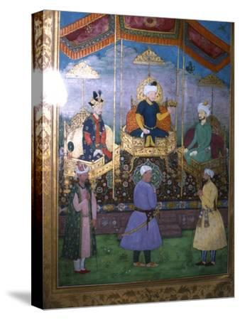 Timur hands his crown to Babur Mughal, c1630-Unknown-Stretched Canvas Print