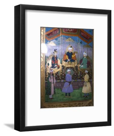Timur hands his crown to Babur Mughal, c1630-Unknown-Framed Giclee Print