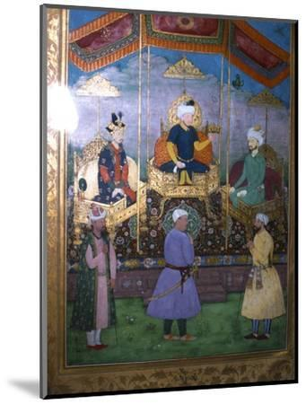 Timur hands his crown to Babur Mughal, c1630-Unknown-Mounted Giclee Print