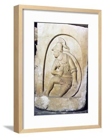 Etruscan Soldier wearing early Chain Mail, Sarcophagus, Chiusi, c3rd century BC-2nd Century BC-Unknown-Framed Giclee Print