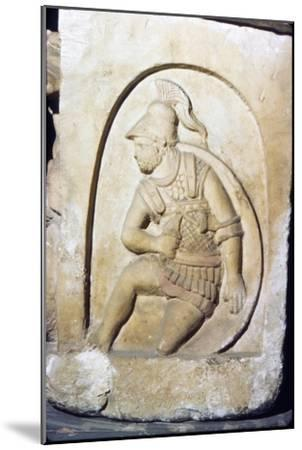 Etruscan Soldier wearing early Chain Mail, Sarcophagus, Chiusi, c3rd century BC-2nd Century BC-Unknown-Mounted Giclee Print