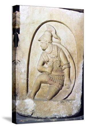 Etruscan Soldier wearing early Chain Mail, Sarcophagus, Chiusi, c3rd century BC-2nd Century BC-Unknown-Stretched Canvas Print
