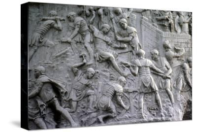 Roman soldiers working on construction, Trajan's Column, Rome, c2nd century-Unknown-Stretched Canvas Print