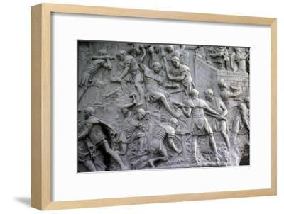 Roman soldiers working on construction, Trajan's Column, Rome, c2nd century-Unknown-Framed Giclee Print