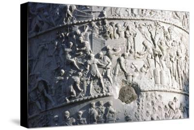 Roman soldiers building a fort in the Dacian campaign, Trajan's Column, Rome, c2nd century-Unknown-Stretched Canvas Print
