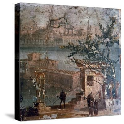 Roman wall painting of idyllic landscape, Pompeii, 1st century-Unknown-Stretched Canvas Print