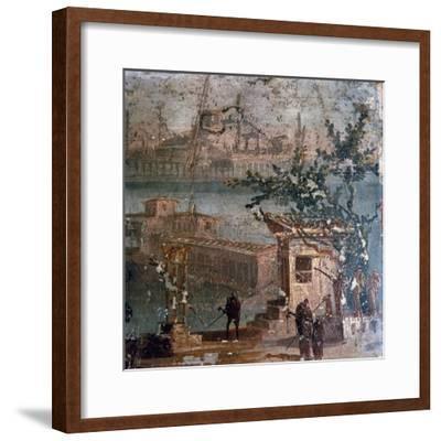 Roman wall painting of idyllic landscape, Pompeii, 1st century-Unknown-Framed Giclee Print