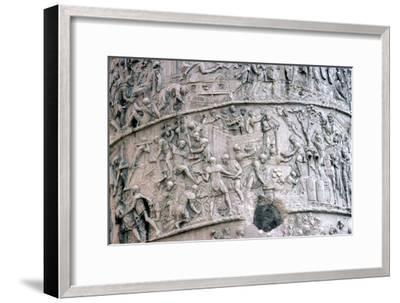 Roman Soldiers building fort in the Dacian Wars, Trajan's Column, Rome, c2nd century-Unknown-Framed Giclee Print