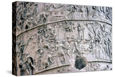 Roman Soldiers building fort in the Dacian Wars, Trajan's Column, Rome, c2nd century-Unknown-Stretched Canvas Print
