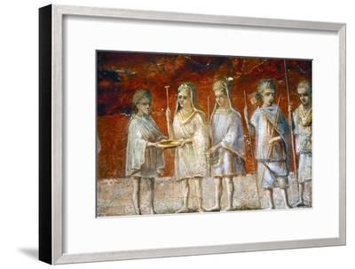 Children in religious procession, Roman wall painting from Ostia, c2nd-3rd century-Unknown-Framed Giclee Print