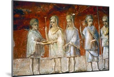 Children in religious procession, Roman wall painting from Ostia, c2nd-3rd century-Unknown-Mounted Giclee Print