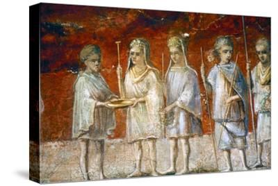 Children in religious procession, Roman wall painting from Ostia, c2nd-3rd century-Unknown-Stretched Canvas Print